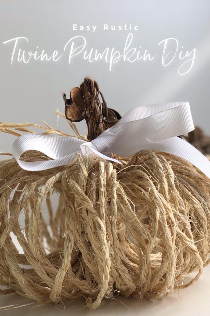 Learn how to make Rustic Twine Pumpkin in seconds! Fall decor pumpkin idea. Jute fall decor diy. Dollar tree fall pumpkin diy