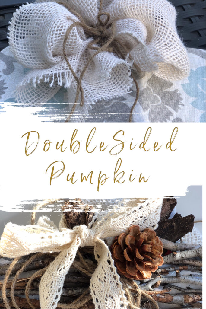 Let's make a double sided pumpkin together to fit your fall home decor mood. Fabric and sticks pumpkin diy.Simple folded bow diy