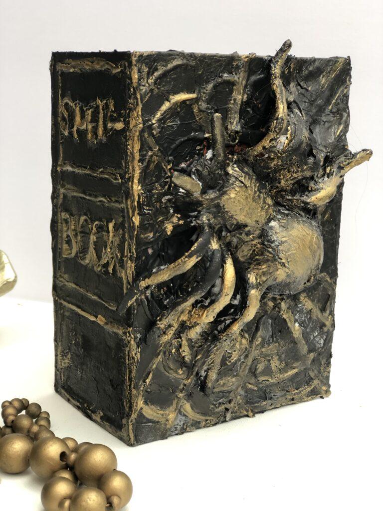 Spooky Spider Halloween Spell Book Diy. Dollar Tree Halloween decor idea. Budget friendly Halloween Decor. Fall Halloween decor idea