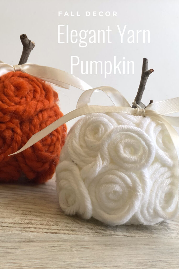 Elegant, easy & sofisticated fall yarn pumpkin DIY with satin bow is the one you need to have this fall in your house Budget friendly fall decor idea