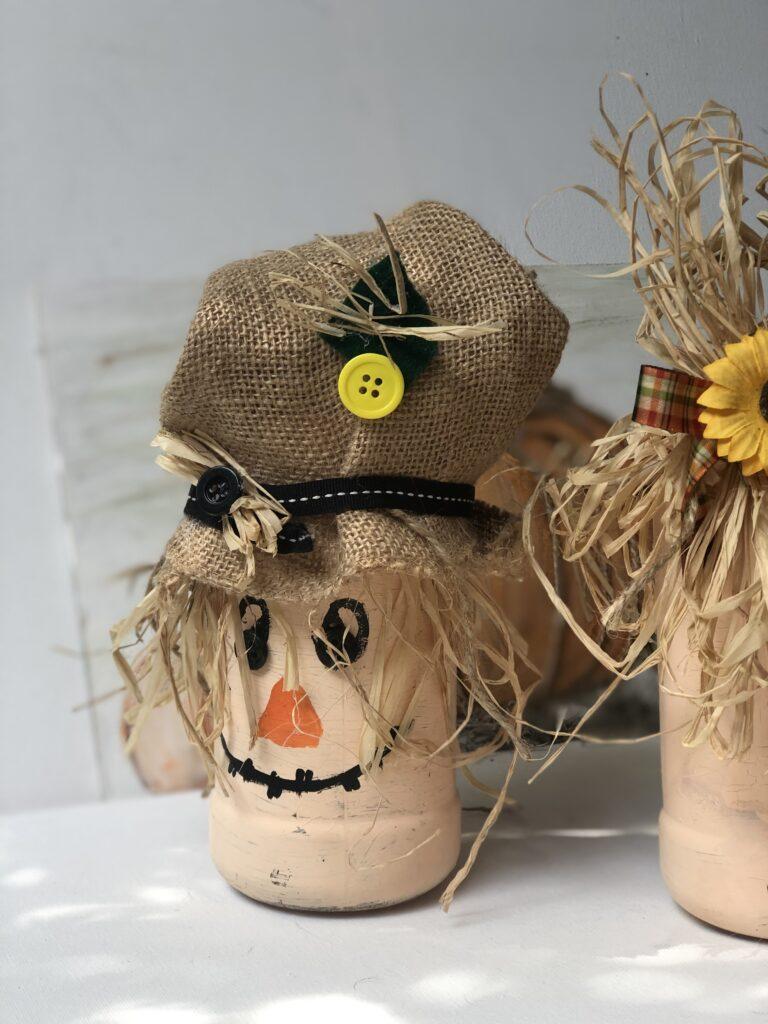 Scarecrow diyBudget friendly fall decor ideas. Fall pumpkin craft. Can upscycle craft diy. Dollar Tree crafts. Easy pumpkin