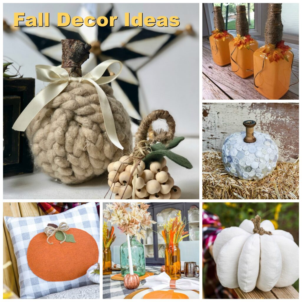 Super cute Dollar Tree chunk yarn pumpkin. Braided chunky yarn fall decor idea. Cozy chunky yarn fall decorating ideas