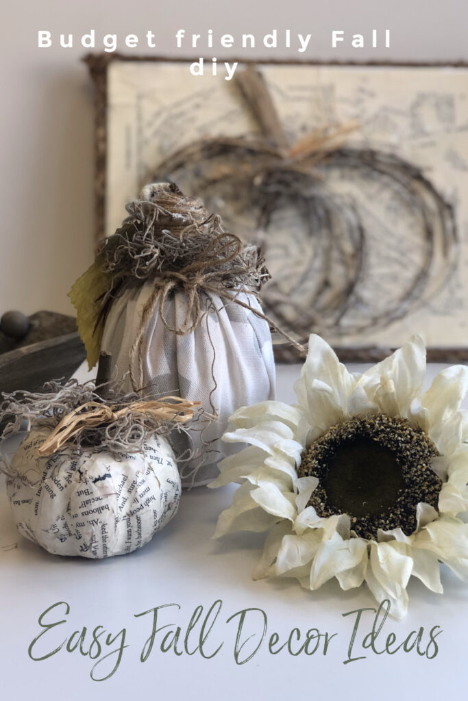 Let's put those scraps to use and create some fall decor. Book pages fall decor. Rustic fall decor. Fabric pumpkin. Dollar Tree fall decor idea