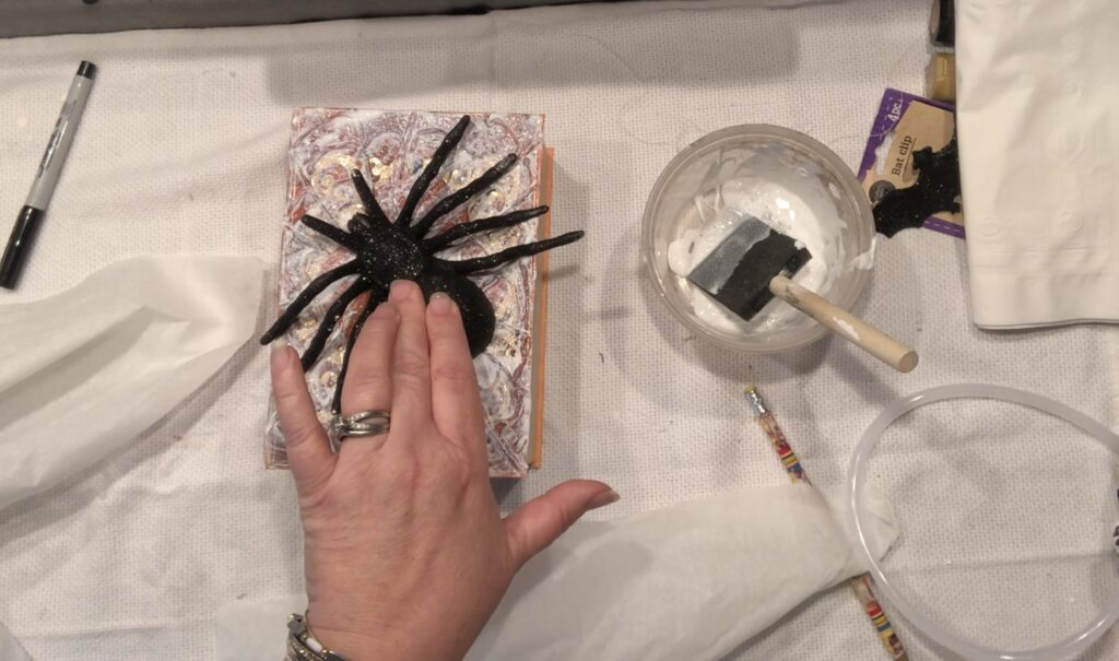 Spooky Spider Halloween Spell Book Diy. Dollar Tree Halloween decor idea. Budget friendly Halloween Decor. Fall decor