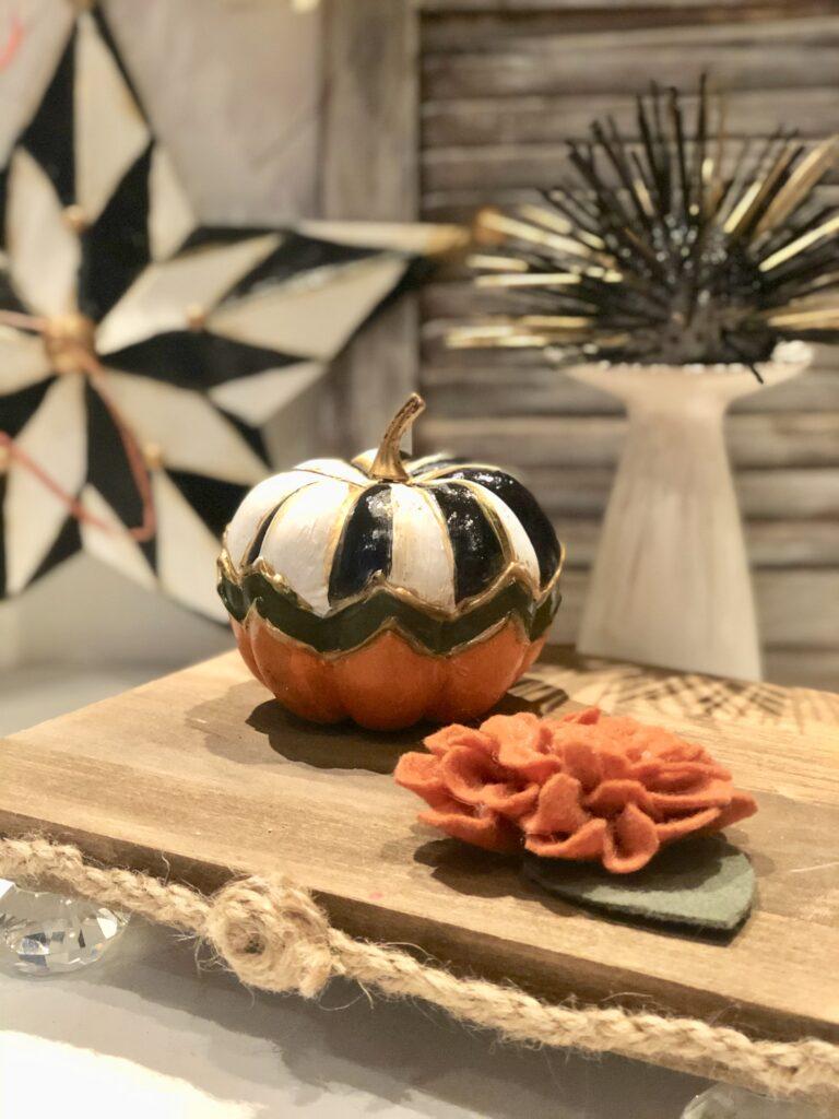 Elegant Chic Dollar Tree pumpkin craft diy . Budget friendly fall Decor Idea. Easy pumpkin fall decor idea