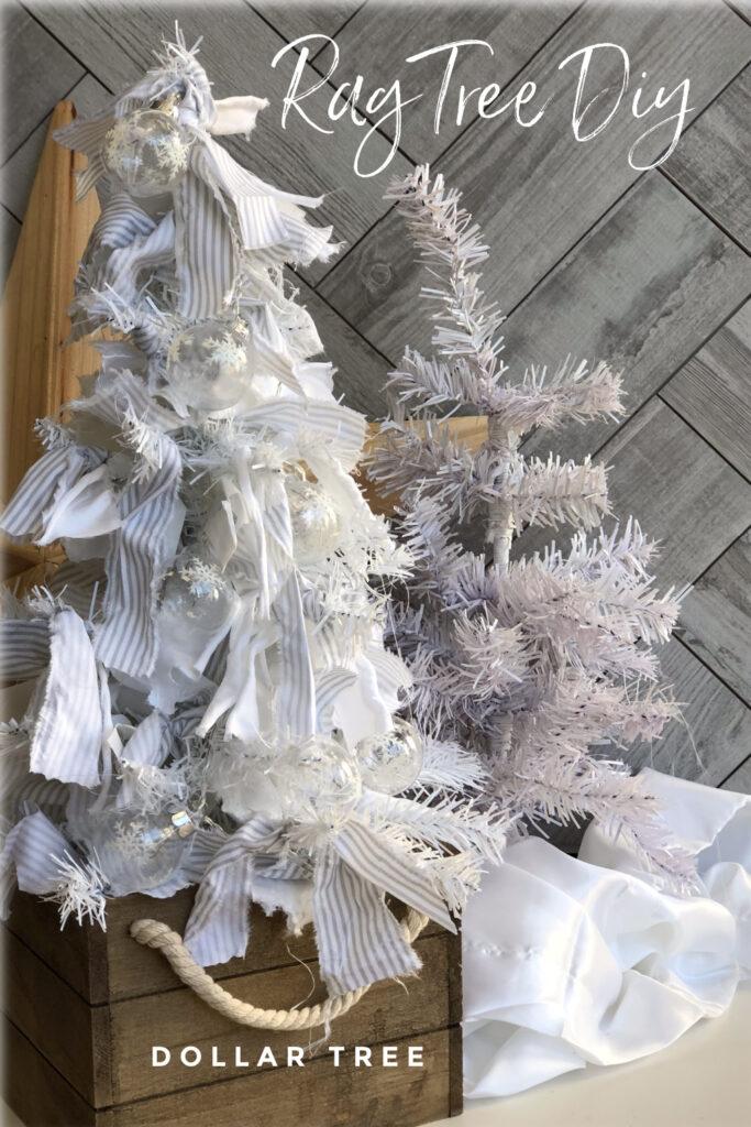Turn your simple Dollar Tree into rustic beauty. Rug tree diy.Fall decor idea under 2$