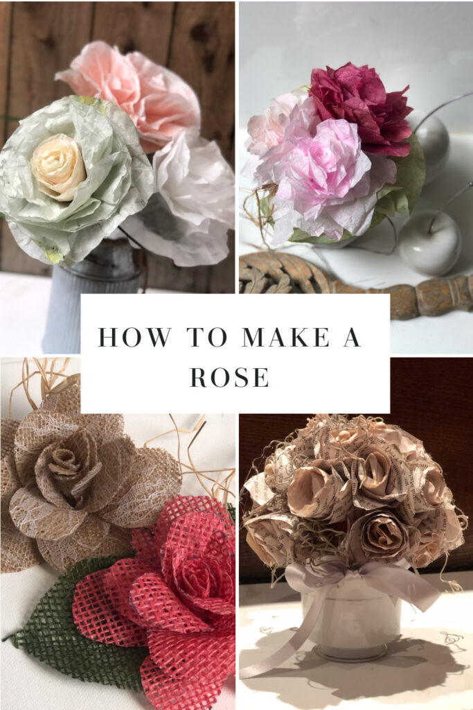 How to make a perfect rose out of book pages, coffee filter or burlap. How to dye coffee filters easy. Easy rose DIY