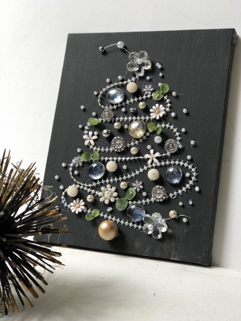Bling Christmas tree diy on canvas