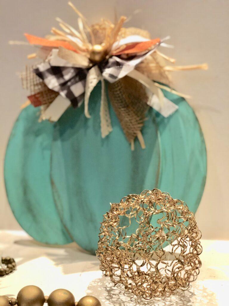 Teal Pumpkin Project! Brown paper fall decor diy.  Teal easy pumpkin diy. Messy bow. Paper fall decor pumpkin diy