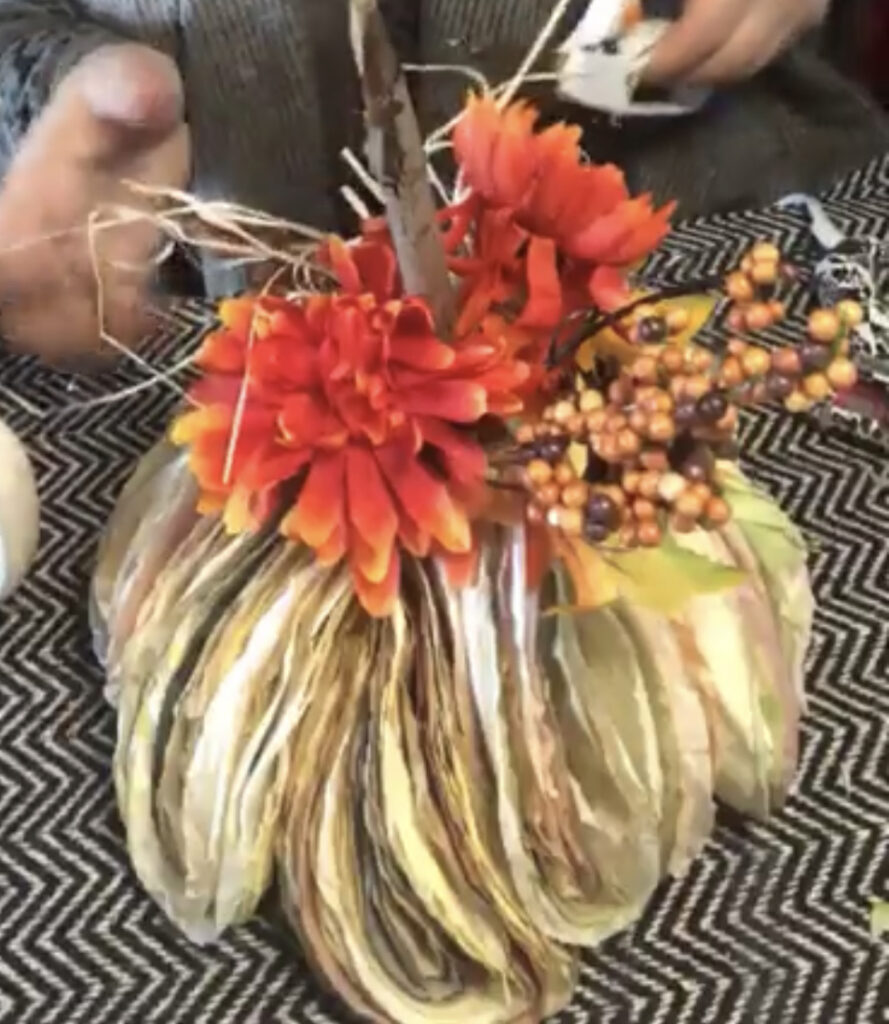 Let's create stunning fall pumpkin project. Coffee filters pumpkin diy. Fall decor idea. Coffee fitlers crafts