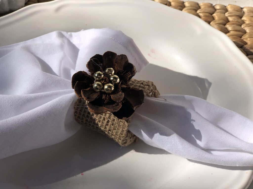 Last minute Fall Thanksgiving Tablescape idea. Napkin rings ideas . Thanksgiving table settings. Fall Napkin folding idea