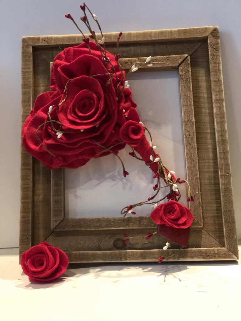Stunning felt Valentine Day decor. Learn how to make easy rose. Felt heart rose diy. Dollar Tree upscale makeover diy
