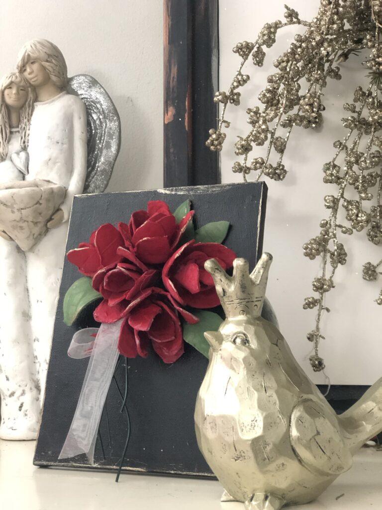 Let's make stunning wall decor on the budget! Egg carton roses tutorial. Elegant wall decor idea. How to make a rose out of egg carton How to make egg carton rose.