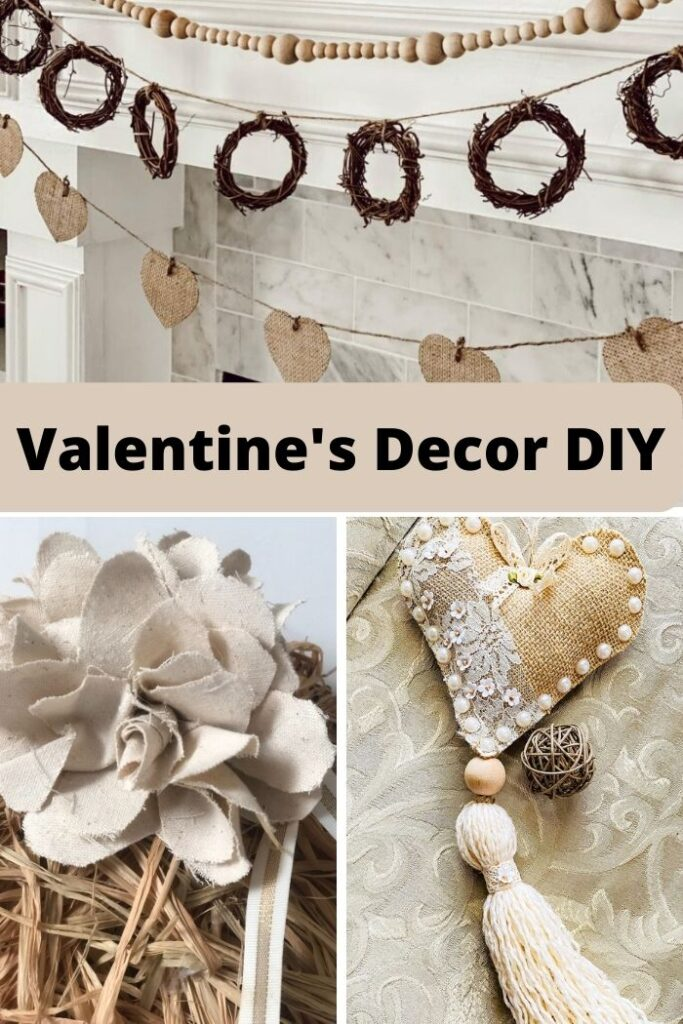 Check out those neutral Valentine's Day decor idea !Shabby Chic heart Valentines Day decor. Raffia heart diy. How to make easy flower out of drop cloth. Dollar Tree craft