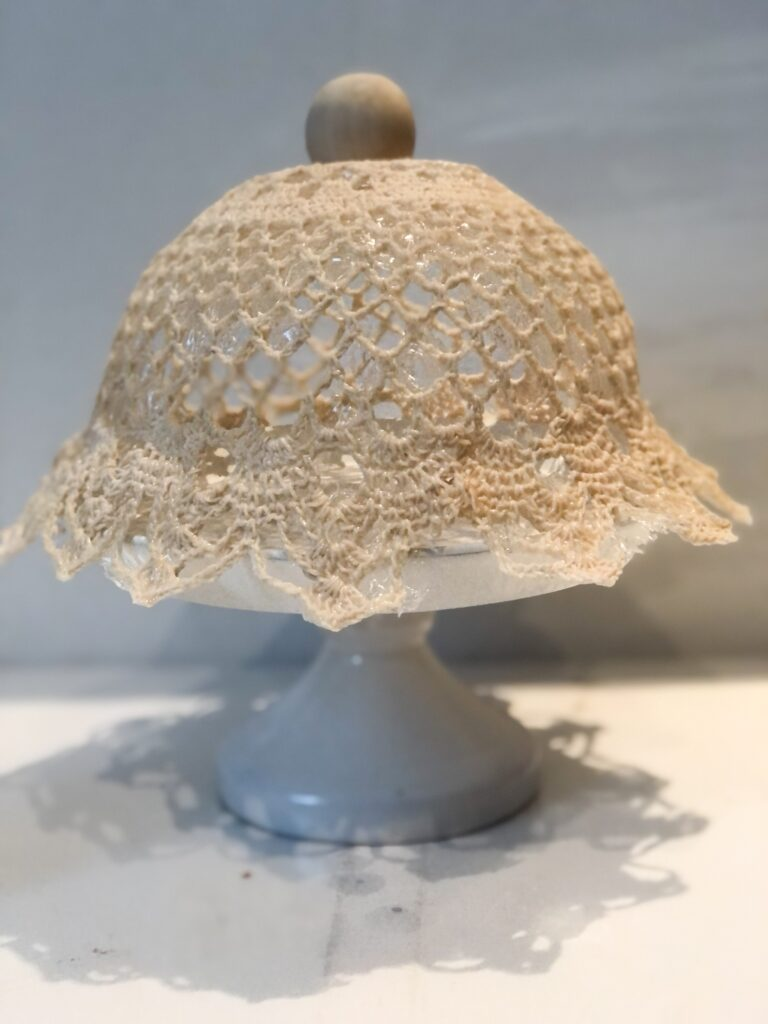 Make with me beautiful crocheted cake dome. Perfect full of character dome made out of crocheted doily. Easy to make detail for your house