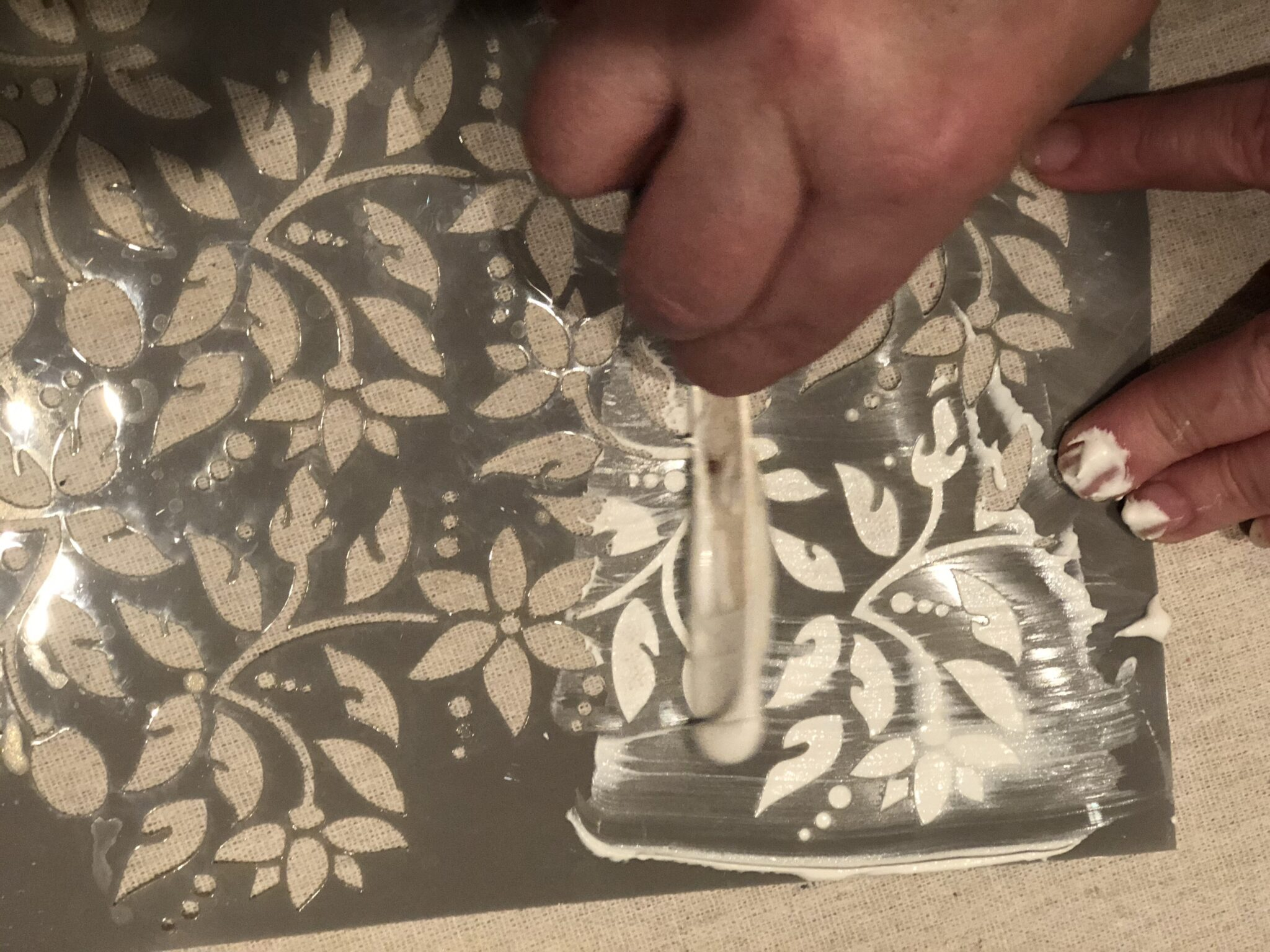 Let's make easy drop cloth flower using  kitchen whisk. Fun recycled project. Textured stencils on fabric