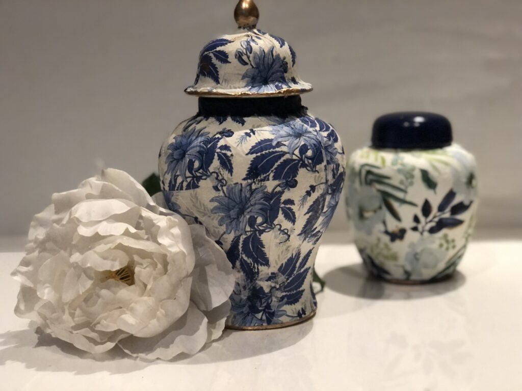 Trash to treasure home decor diy. Learn how to turn average thrift store ginger jar makeover to a exquisite beauty. How to decoupage napkin wrinkle free on a round surface. Thrift store home decor idea