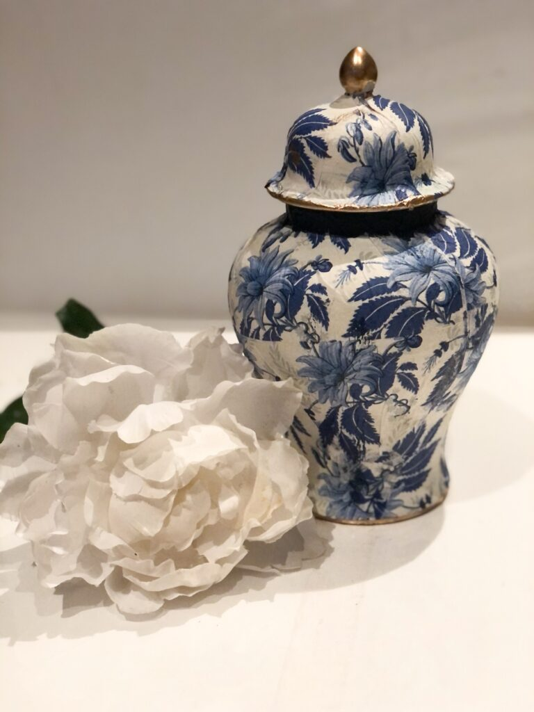 Trash to treasure home decor diy. Learn how to turn average thrift store ginger jar to a exquisite beauty. How to decoupage wrinkle free on round surface