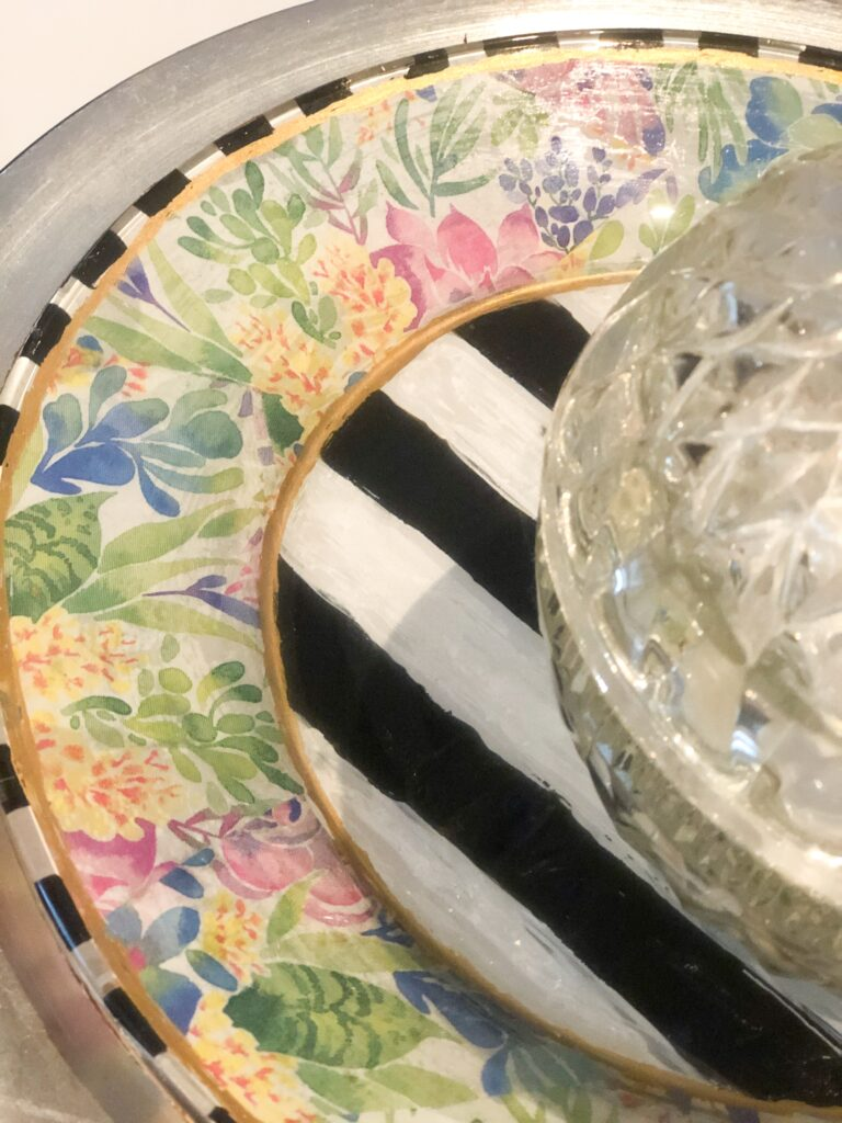 Let's give a glass plate from Dollar Tree upscale MacKenzie Childs inspired makeover. Glass napkin decoupage. Dollar Tree home decor diy. How to paint on the glass. Dollar Tree glass plate diy
