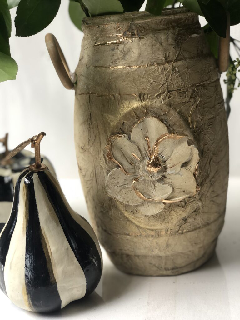 Let's transform awesome shaped pretzel container to stunning mixed media vase. Trash to treasure diy. Vintage high end home decor diy. Crafting with molds