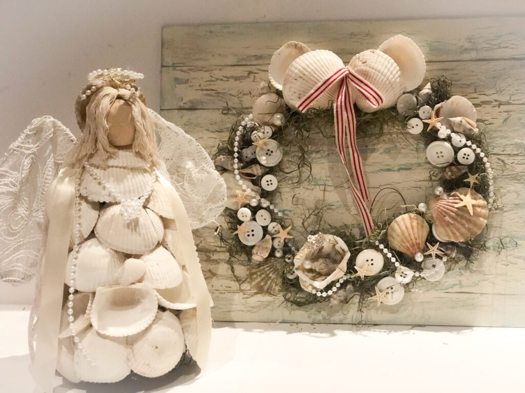 Christmas in July coffee filters poinsettias. Coastal Christmas can't be celebrated without shell tree , shell angel, shell wreath