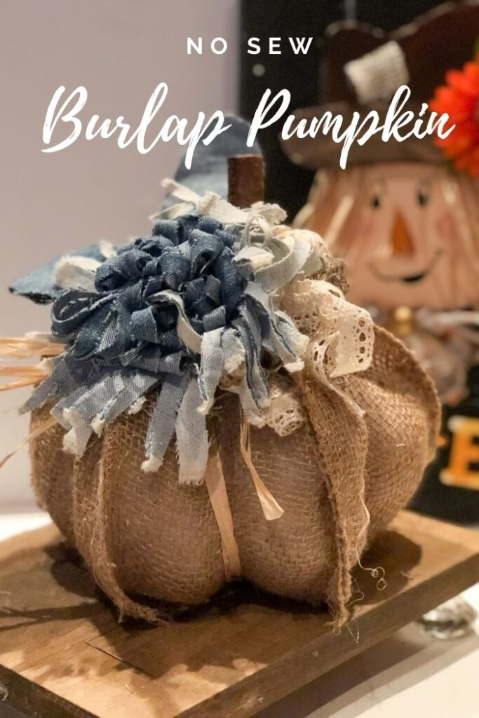 No Sew stunning sectioned Burlap Ribbon Pumpkin diy. Easy fall decor idea. Budget friendly fall decor  diy. How to make easy flower from jeans