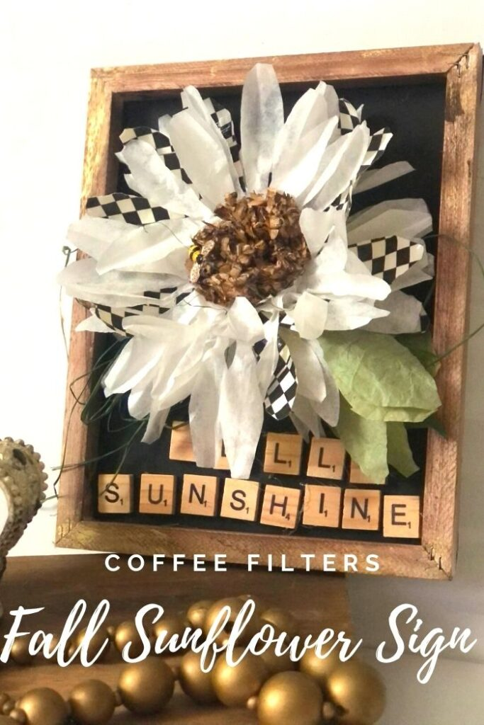 Learn how to make easy fall decor with coffee filters flowers . Easy MacKenzie Childs inspired coffee filters sunflower diy. Perfect fall decor