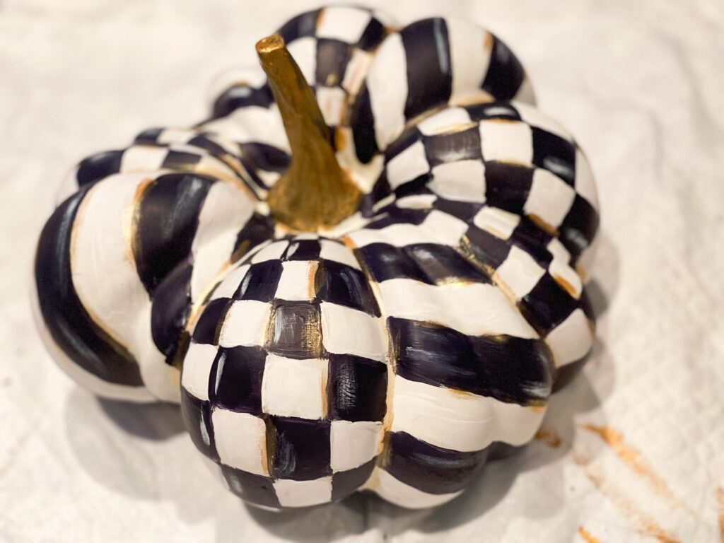 MacKenzie Childs inspired fall painted pumpkin diy. Learn how to plan and create pattern. High end fall decor idea. Whimsical easy fall diy