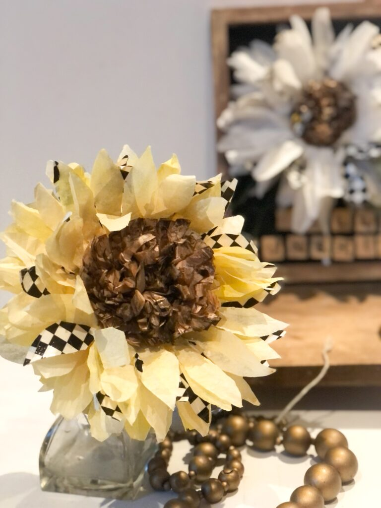 Learn how to make simple fall sunflowers out of coffee filters. MacKenzie Childs inspired fall sunflowers. Easy coffee filters flowers