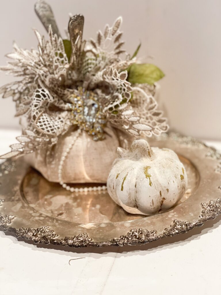 Shop your own house for this elegant vintage pumpkin patch fall decor idea. Budget friendly way to decorate your home for the fall