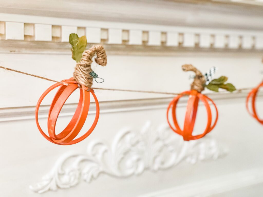 Let's make super cute lighted embroidery hoop fall pumpkin garland  decor for your mantel. MacKenzie Childs inspired fall decor diy. Orb pumpkin garland with lights