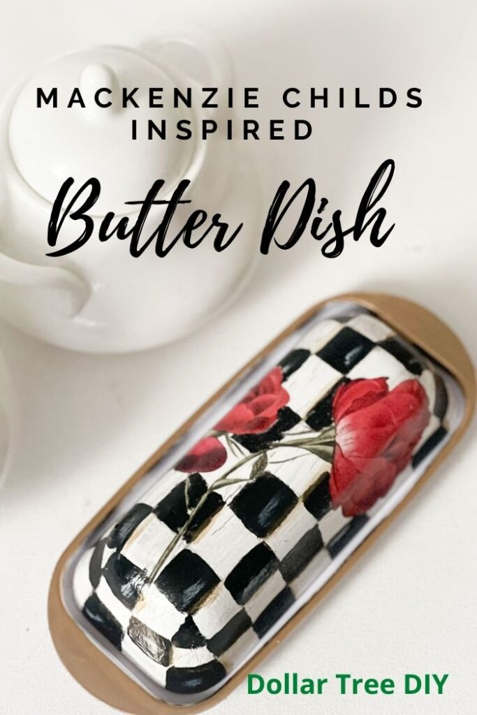 Let's turn Dollar Tree butter dish into stunning high end diy. MacKenzie Childs inspired upscale Dollar Tree diy. Learn how to paint courtly check pattern.
