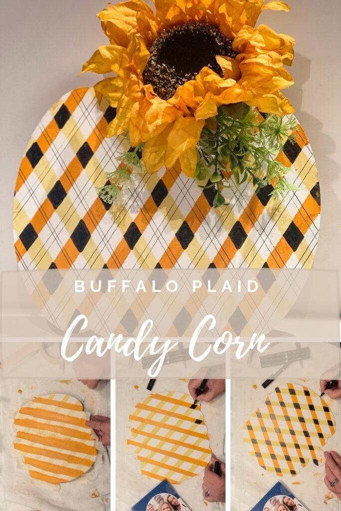 Learn how to paint easy fall buffalo check plaid pattern. Fall candy corn buffalo check/ plaid pattern tutorial. Fun detail to fall decor diy. Fun budget friendly diy
