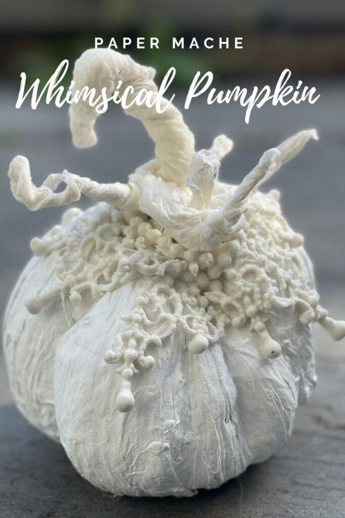 Learn how to make stunning easy paper mache pumpkin diy. Fall high end decor idea on the budget. Whimsical fall decor idea
