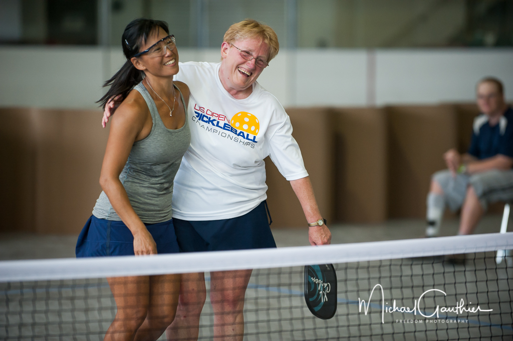 Evelyn and Pat celebrate their Women's Doubles 4.5 Gold Medal victory.