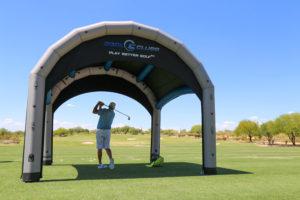 shaded golf club club fitting tent