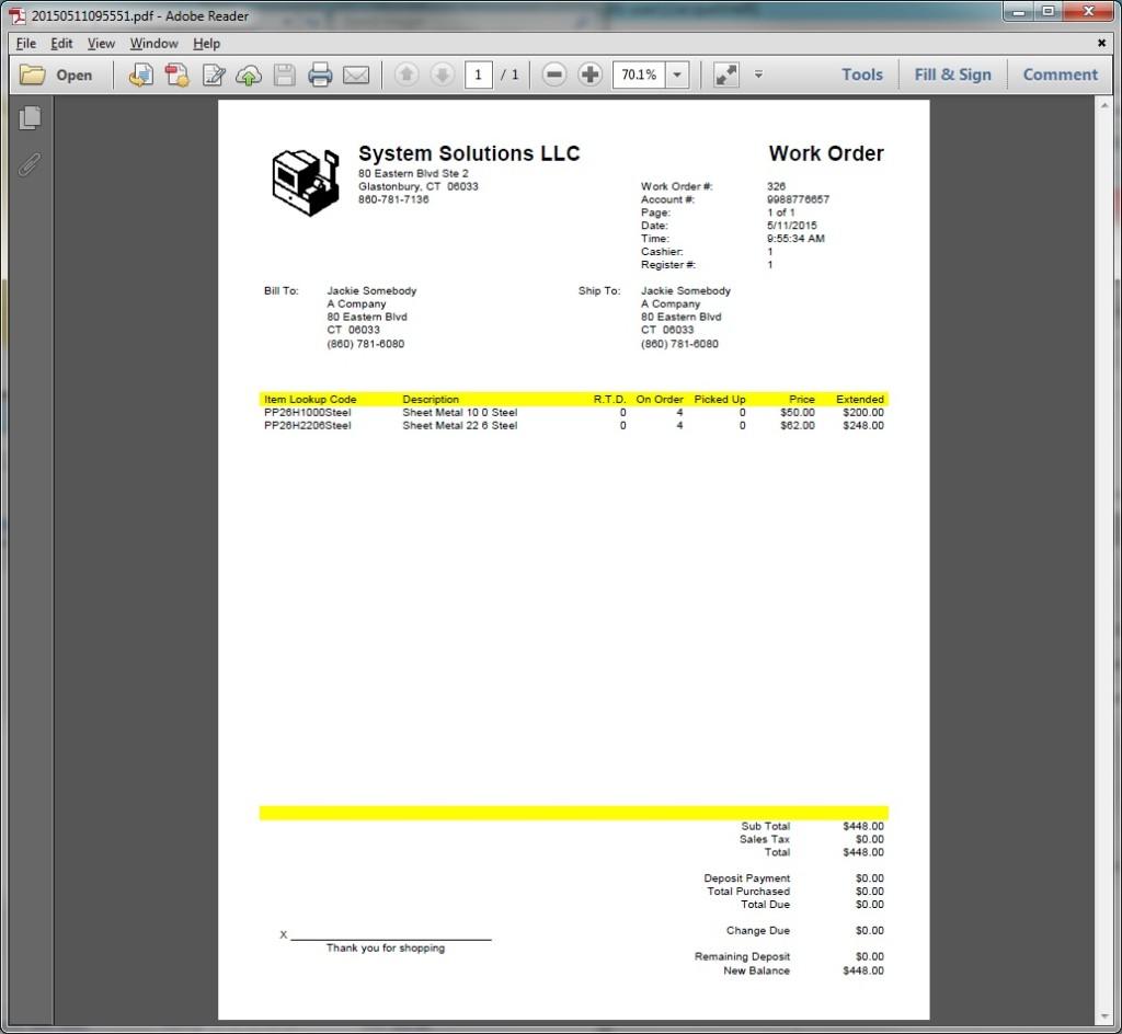 Work Order PDF