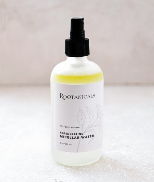 Rootanicals - Regenerating Micellar Water with lactic acid (AHA), green tea, rose - botanical toner - certified organic skincare