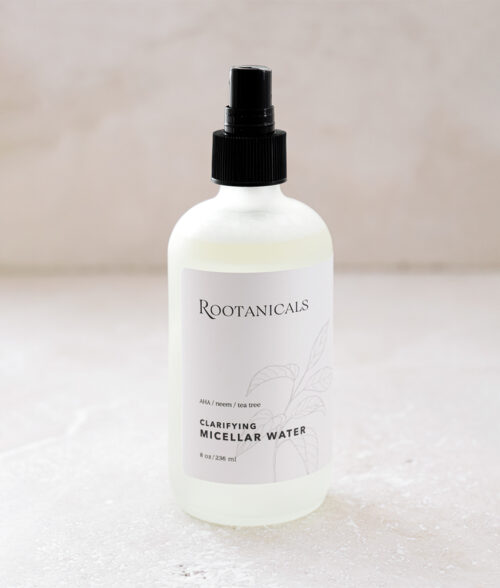 Rootanicals - Clarifying Micellar Water with lactic acid (AHA), neem, tea tree - botanical toner - certified organic skincare