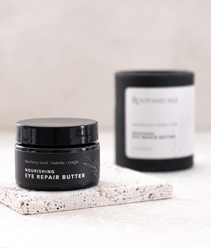 Rootanicals - Nourishing Eye Repair Butter with blueberry seed, matcha, CoQ10 - certified organic skincare