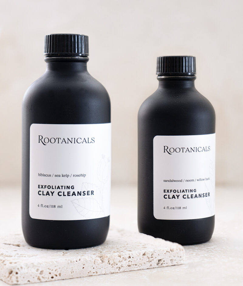 Rootanicals - Exfoliating Green Clay Cleanser with Sandalwood, Neem, White Willow Bark - botanical, artisan skincare