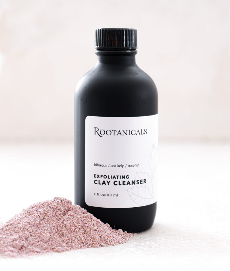 Rootanicals - Exfoliating Pink Clay Cleanser with Hibiscus, Sea Kelp, Rosehip - botanical, certified organic skincare