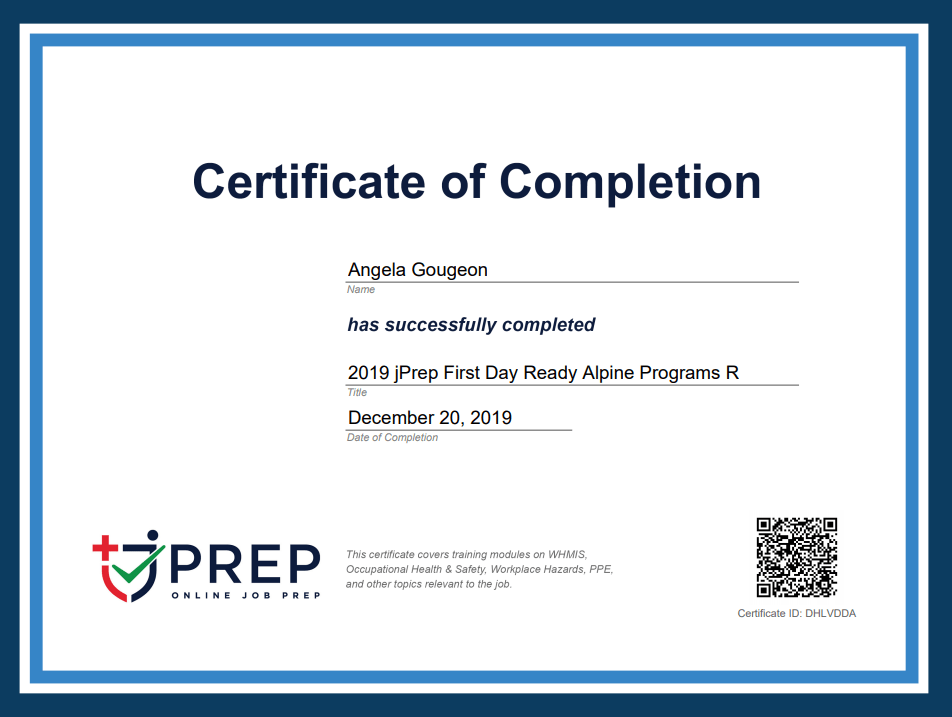 jPrep Certificate of Completion