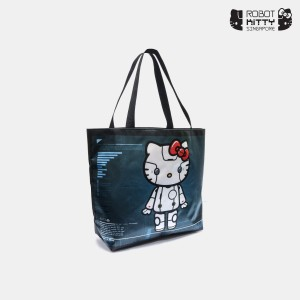 Robot Kitty Satin Tote Bag