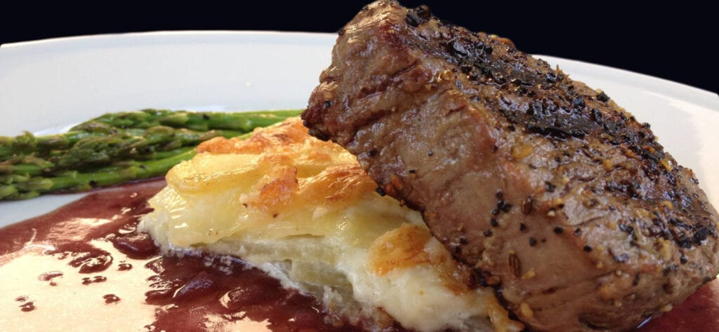 Filet Mignon-AuGratin with Sauce