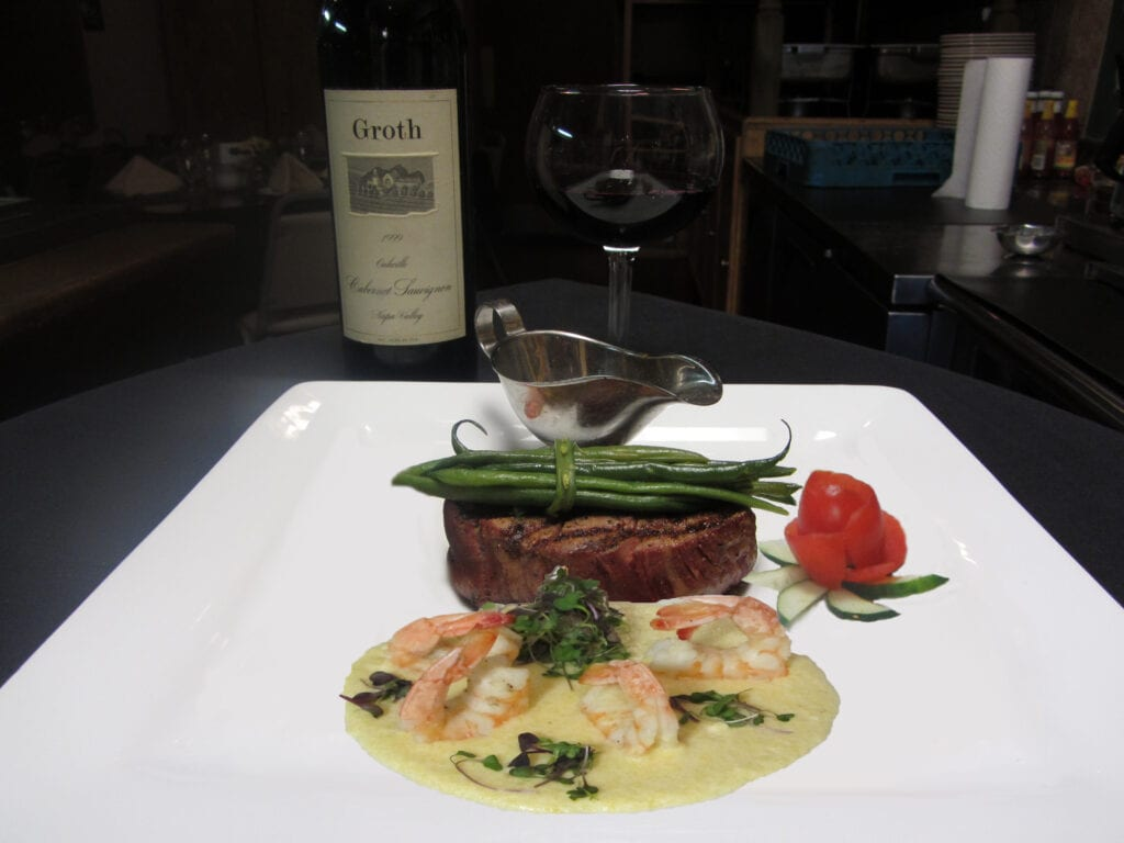 Filet Mignon with Shrimp and Grits and Green Beans