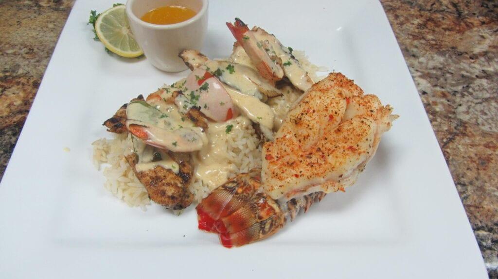 Lobster with Chicken& Shrimp Kebab