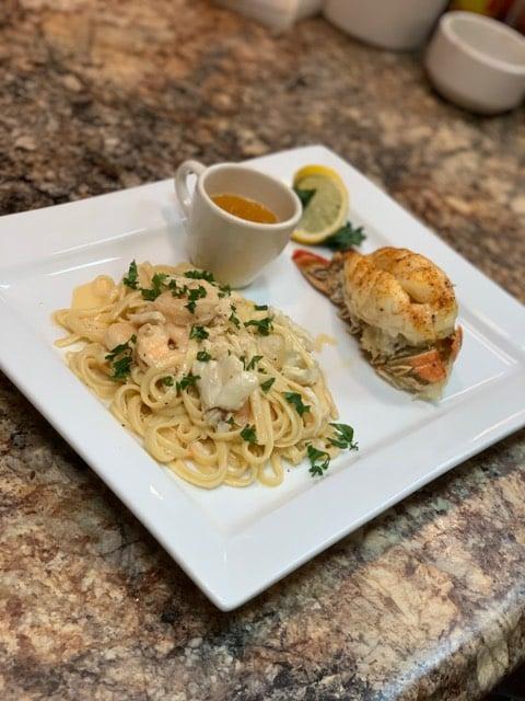 Lobster with Shrimp & Crabmeat Pasta