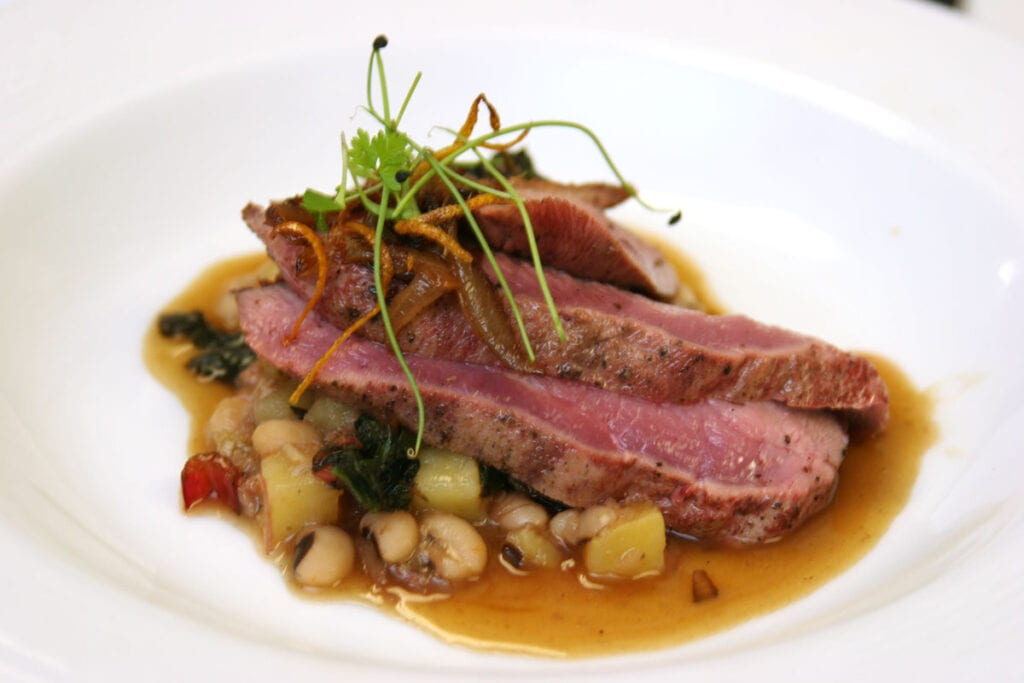 Seared-Duck-Breast-Blackeyed-Pea-Potato-Cassoulet