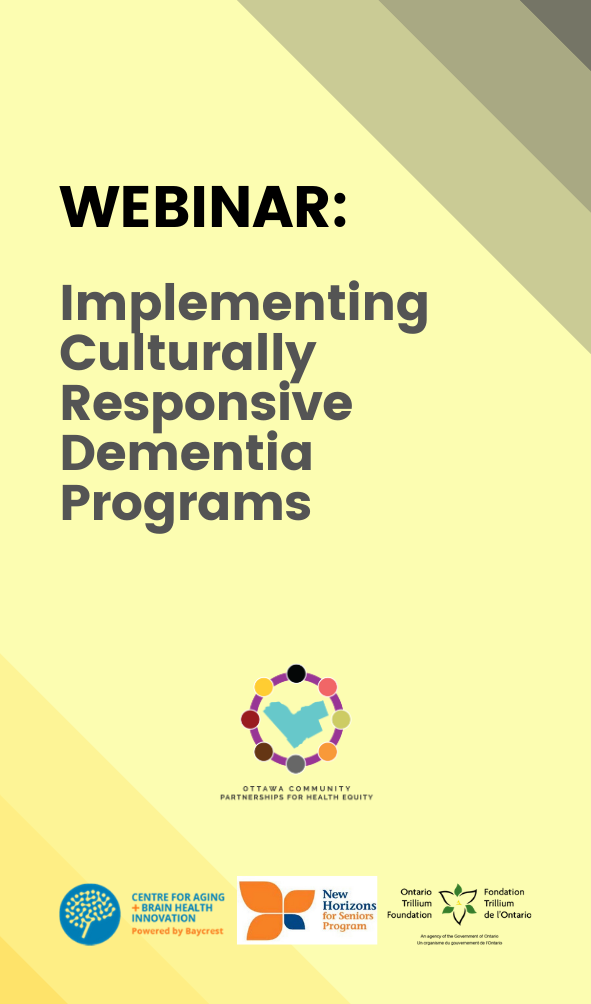 webinar flyer for implementing culturally responsive dementia programs in Ottawa, Canada.
